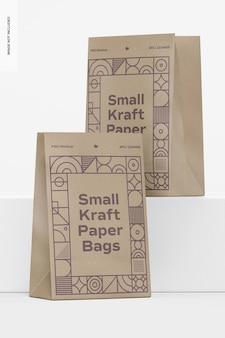 Maquete de pequenos sacos de papel kraft