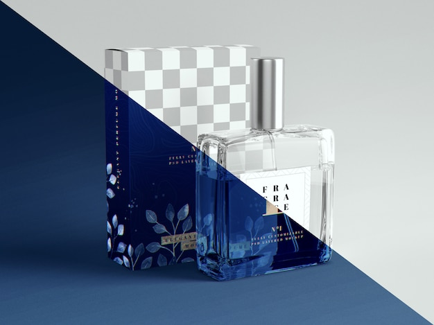 Maquete de perfume e embalagem