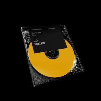 Maquete de perspectiva de caixa de cd transparente