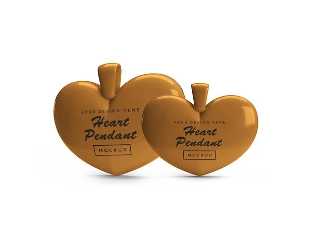 Maquete de pingente de coração dourado