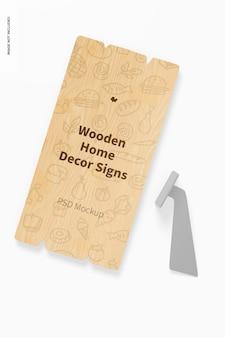 Maquete de placa de decoração de casa em madeira, vista superior