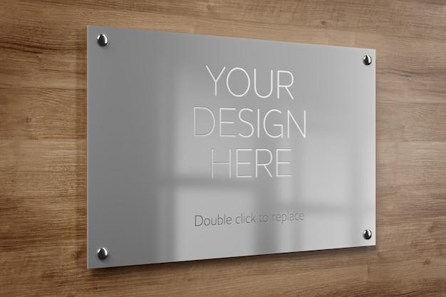 Maquete de placa de escritório de metal