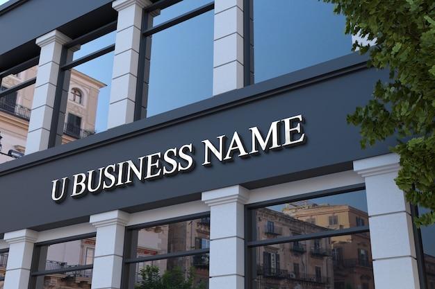 Maquete de placa de fachada de escritório