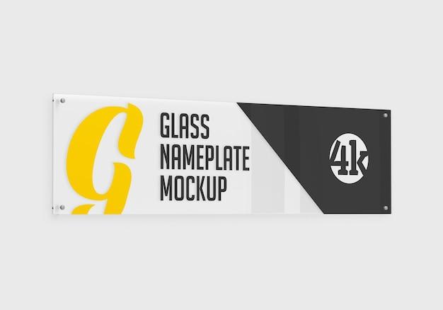 Maquete de placa de identificação de vidro retangular longa isolada
