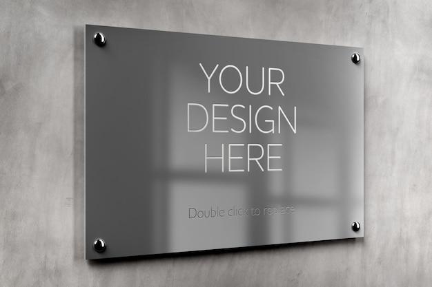 Maquete de placa de metal para escritório
