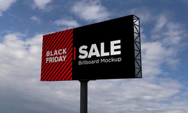 Maquete de placa de outdoor de pesquisa com banner de venda da black friday