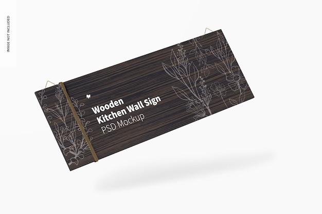 Maquete de placa de parede de cozinha de madeira, caindo