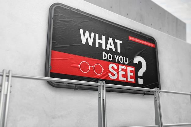 Maquete de placa de parede de publicidade de rua