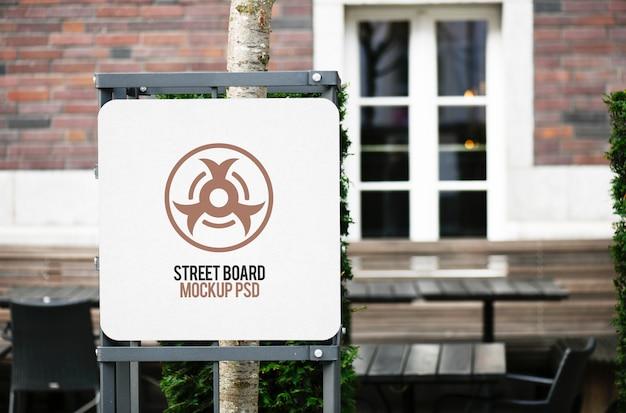 Maquete de placa de placa de rua