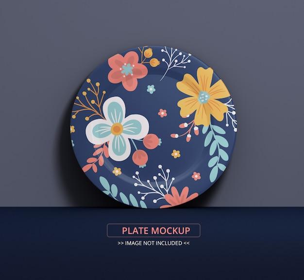 Maquete de placa de prato para arte de textura e exibição de simulação, placa única na parede