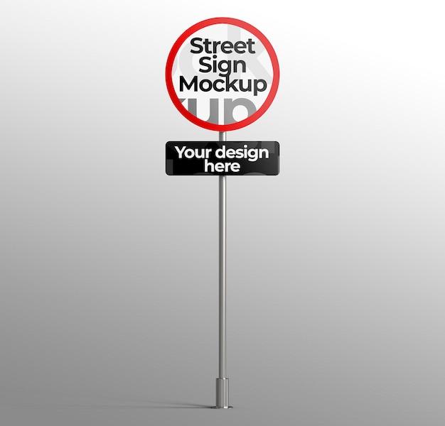 Maquete de placa de rua 3d isolada para publicidade ou branding