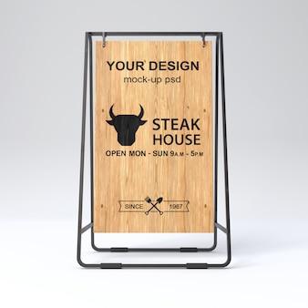 Maquete de placa de sinal de madeira