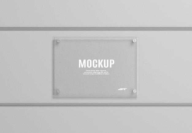 Maquete de placa de sinalização de vidro