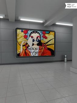 Maquete de placa de tela de publicidade