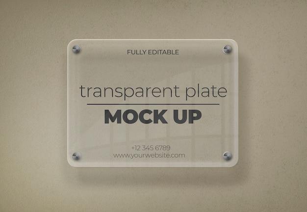 Maquete de placa transparente