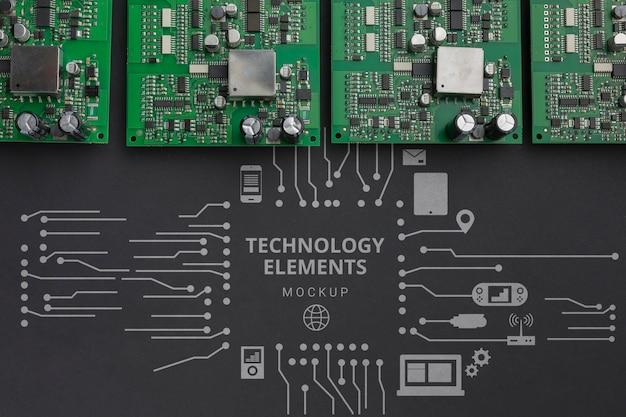 Maquete de placas de circuito de vista superior