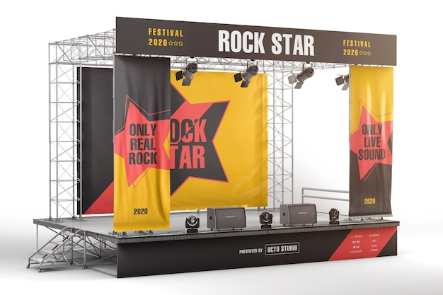 Maquete de placas e banners de publicidade de palco