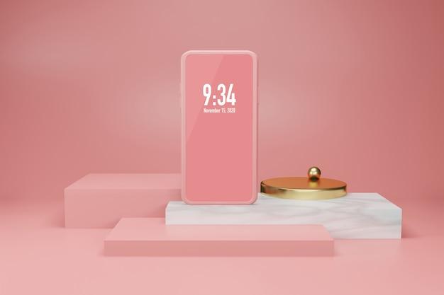 Maquete de plano de fundo de exibição de palco de renderização 3d móvel