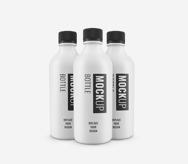 Maquete de plástico branco garrafas