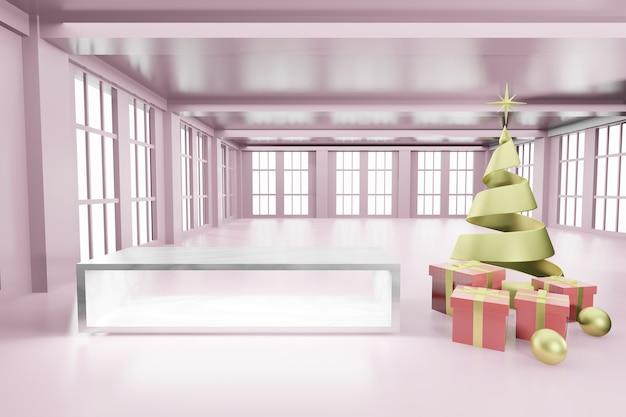 Maquete de pódio vazio de natal