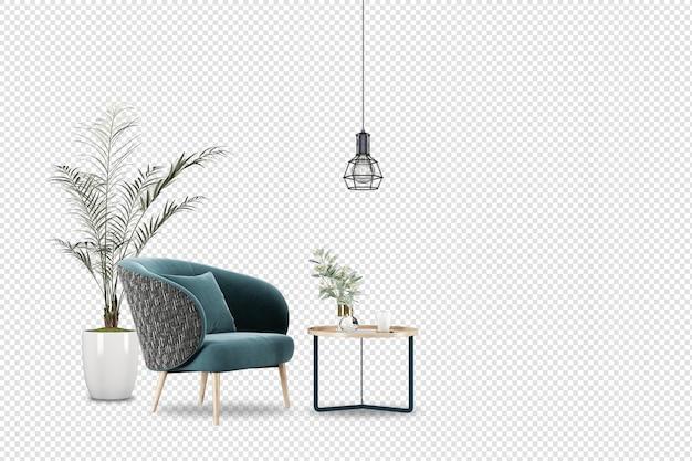Maquete de poltrona e planta na sala de estar