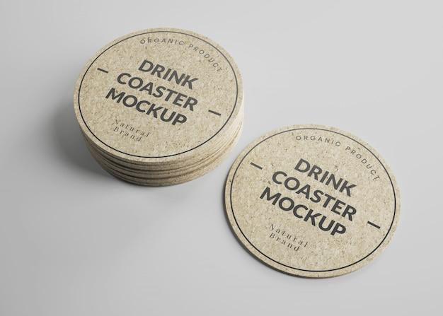 Maquete de porta-copos de cortiça redonda bebida em vista isométrica