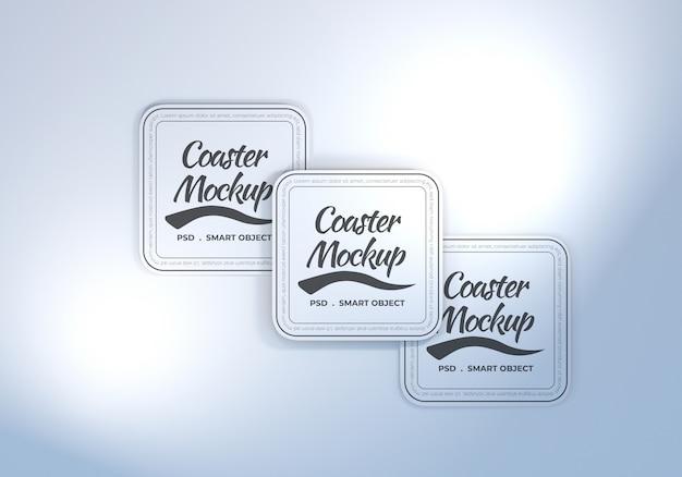 Maquete de porta-copos de mesa de retângulo arredondado