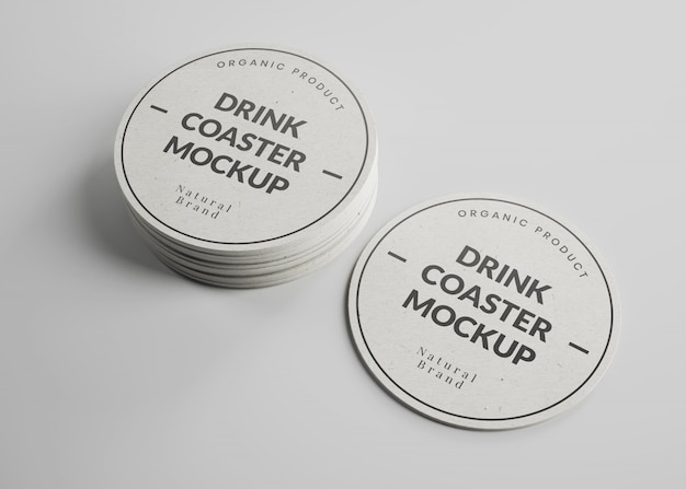 Maquete de porta-copos de papel redondo bebida em vista isométrica