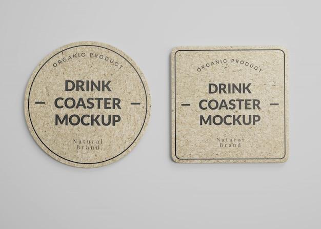 Maquete de porta-copos quadrados e redondos para bebidas em vista superior