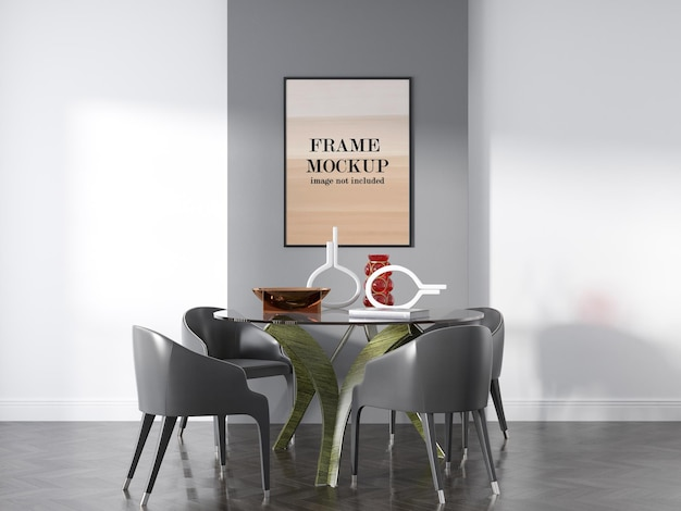 Maquete de porta-retrato na sala de jantar com mesa de vidro