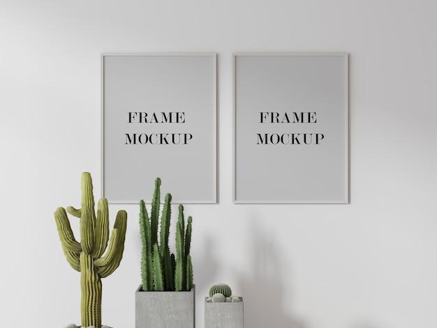 Maquete de porta-retratos acima de cacto