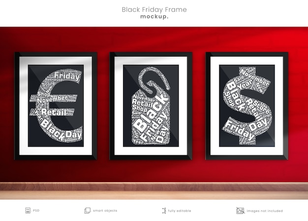 Maquete de porta-retratos de fotos de sexta-feira negra