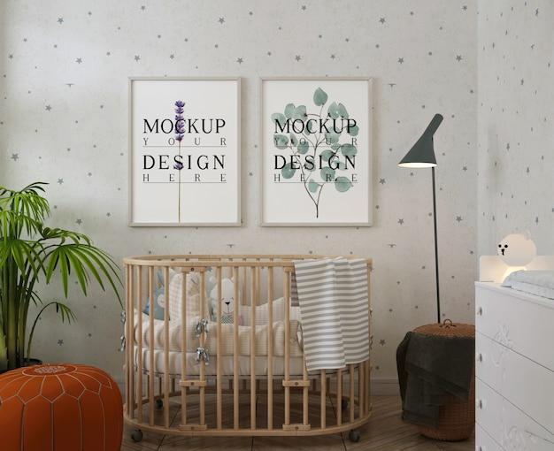 Maquete de porta-retratos em quarto de bebê moderno