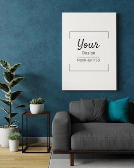 Maquete de porta-retratos na parede do interior da sala de estar