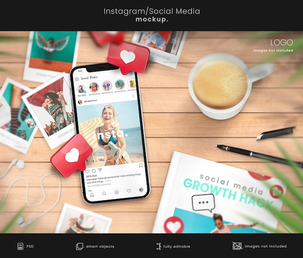 Maquete de post do instagram em smartphone com maquete de livro