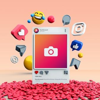 Maquete de postagem de mídia social 3d no instagram