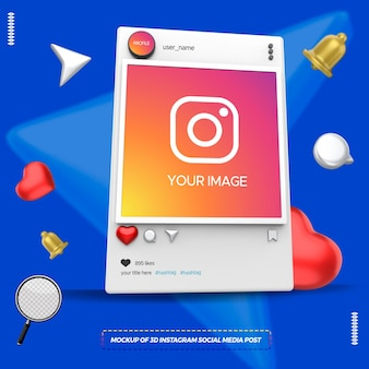 Maquete de postagem de mídia social instagram em 3d