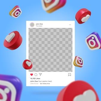 Maquete de postagem do instagram nas redes sociais