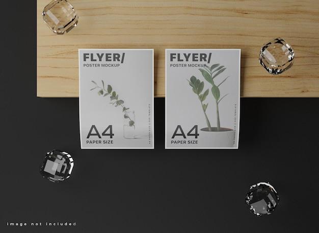 Maquete de pôster a4 realista flutuante.