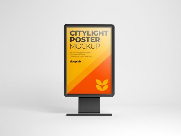 Maquete de pôster citylight com cor de fundo editável