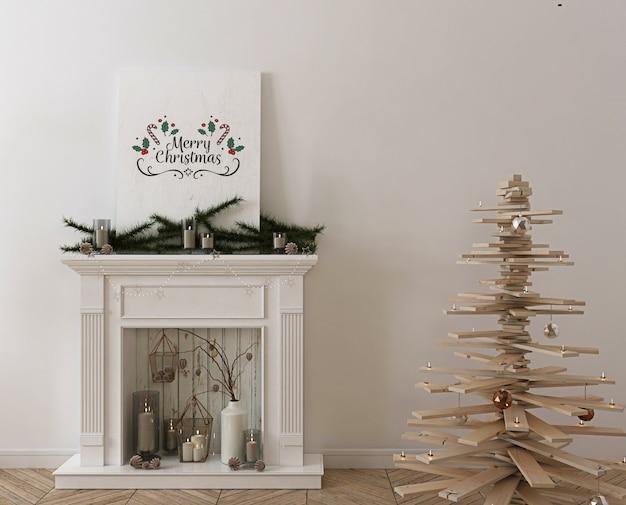 Maquete de pôster com árvore de natal de madeira, decoração e presentes