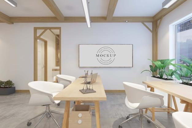 Maquete de pôster com moldura e design de interiores do quarto