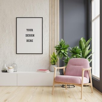 Maquete de pôster com quadros verticais na parede vazia no interior da sala de estar com poltrona de veludo rosa. renderização 3d