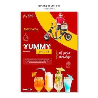 Maquete de pôster de conceito online de comida