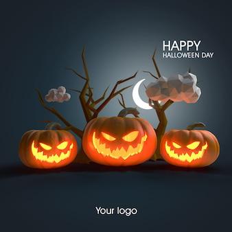 Maquete de pôster de halloween em 3d