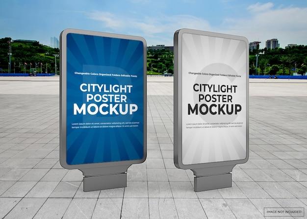 Maquete de pôster de luz da cidade