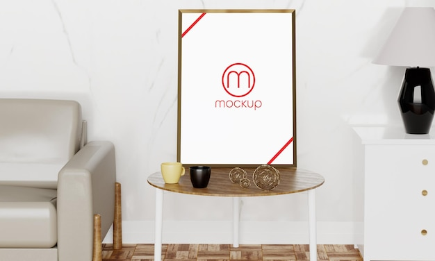 Maquete de pôster desenho quadro logotipo