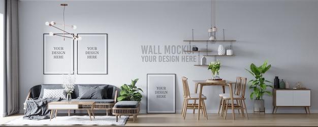 Maquete de pôster e interior de maquete de parede sala de estar escandinava e fundo da sala de jantar