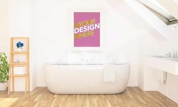 Maquete de pôster em moldura no banheiro