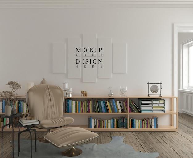Maquete de pôster em uma sala de estar moderna clássica